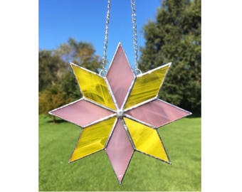 Stained Glass Pink and Yellow Star Suncatcher Decoration