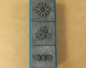 "1/2"" Daisies Ornamental Stamps by Melody Ross / Set of 3 / Use On Chipboard And Leather"