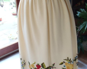 FINAL SALE  MINT Condition Handmade Applique and Crewel Embroidery Wool Skirt