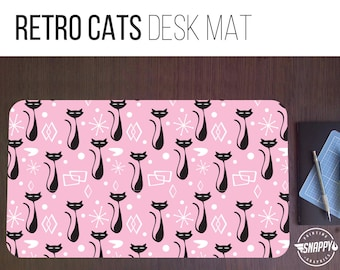 Retro Cats Pattern Desk Mat - 2 Sizes - High Quality Digital Print, Dye Sublimation - Hand Washable