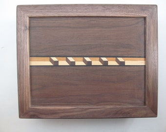 Secret Compartment.3 dimensional Inlay.Black Walnut.box.Keepsake.Ladies Jewery box.Retirement Gift.Dresser Valet.Gift for him.Gift for her