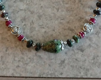 Ruby Zoisite and Jade Necklace