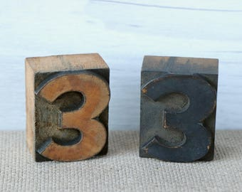 Vintage Wood Letterpress Block Number 3 - SOLD INDIVIDUALLY, Vintage Wooden Letterpress Number Three, Vintage Typeset Number 3