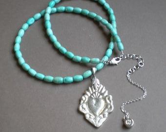 Sacred Milagro Heart. Blessing Necklace. Birthday Wedding GIFT .. Frida Kahlo Collection. Ex Voto