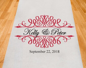 Simply Elegance Personalized Aisle Runner - Wedding Ceremony Aisle Runner (PPD1-G)