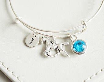 Horse ridding gift, gift for horse lover, horse bracelet, personalised horse gift, birthstone initial gift, bangle bracelet,best friend gift
