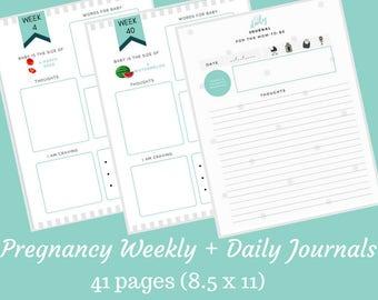 Pregnancy Journal, Pregnancy Weekly Journal, Pregnancy Daily Journal, Printable