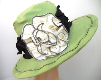 Organic Jersey Sun Hat - Packable for Travel - Suffragette Edwardian Hat - Chartreuse and Black - Margaret