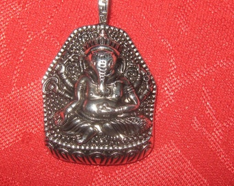 LARGE 33MM Detailed Antique Silver tone  Ganesh Pendant