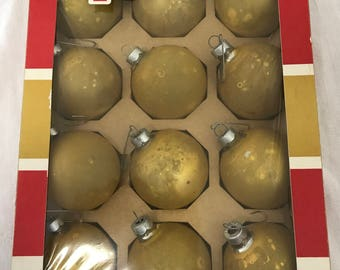 Coby Gold Glass Ornaments - 12 in Box