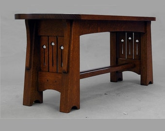 Mission, Arts and Crafts, Quartersawn Oak, Mackintosh Coffee Table or Dressing Bench