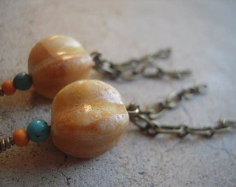 Ivory Stone Chain Earrings Turquoise & Orange Beads