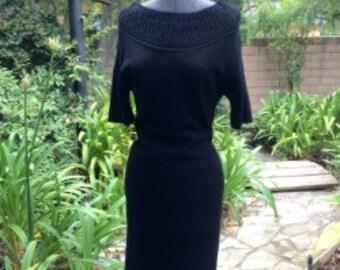 1960's Mad Men Style Knit Black Dress