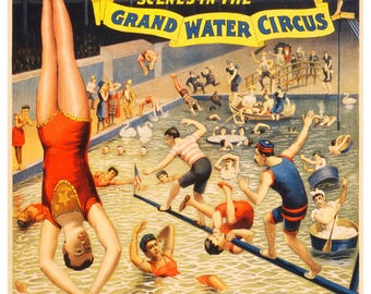 Vintage Grand Water Circus Barnum and Bailey Advertising Poster Print