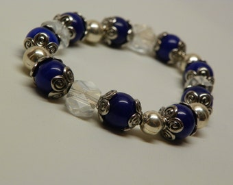 Handmad bracelet made with lapis lazuli gemstones, cubed glass and metal beads(RB8)