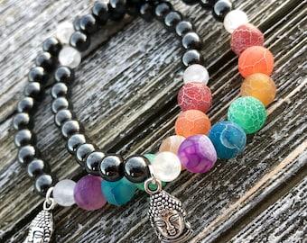 7 Chakras Zen Stretch Bracelet/Buddha/Chakras/Crystals/Healing/420/Yoga/LGBT/Buddha Bracelet/Good Vibes Bracelet/Agate/Hematite