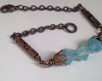 Romantic Brass Bracelet - Green - Delicate Bracelet - for Girlfriend -  Bracelet Gift - Bohemian - Pacific Opal - Jewelry - Gift - for Wife