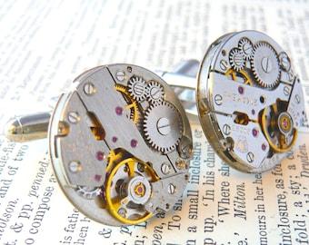 Watch Cufflinks, Mens Cufflinks, Watch Movement Cufflinks, Vintage Cufflinks, Steampunk Watch Cufflinks, Boyfriend Gift