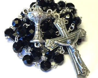 First Communion Catholic Handmade Rosary in Black Czech Glass Beads with Chalice Center