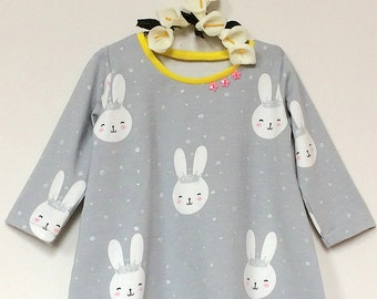 Baby Bunny dress.  Girls dress. Baby dress. Rabbit dress. Toddler dress. Play dress.