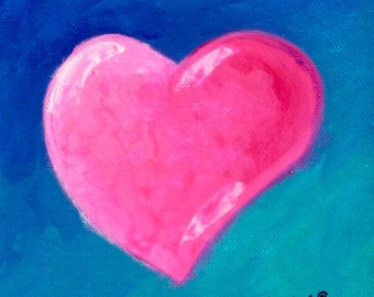 Romantic Gift, Original Painting, Pink Heart, Blue Artwork, Valentine Gift, Small Art, Wedding Gift, Under 50, Gift For Mom, Kitchen Decor