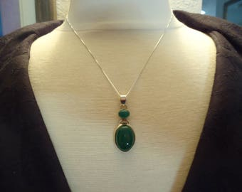 """Vintage Sterling Silver Green Stone Pendant Necklace, Green Onyx, 18"""" Sterling Box Chain, 925 Sterling Jewelry"""