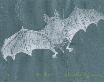 The Bat Linocut - Lino Block Print Illustration of a Bat in Silver on Blue