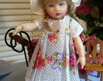 """PDF Hanky  Dress Pattern for 8"""" Doll, Old Fashioned Pleated Dress + Others"""