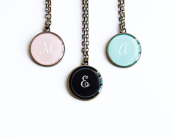 Colorful initial necklace, personalized jewelry, initial pendant