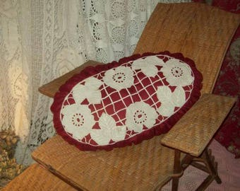A very large art deco, vintage embroidery pillow