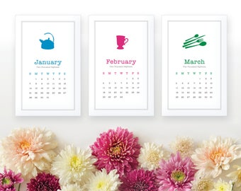 2018 Printable Monthly Calendar - Color Kitchen Wall Calendar - Desk Calendar - Home Organizing - Instant Download