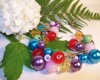 Bracelet, colored beads various sizes, handmade, one of a kind