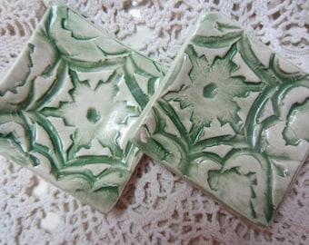 Two Green Tea Bag Holders Ceramics Handmade Teal Lights Home Decor