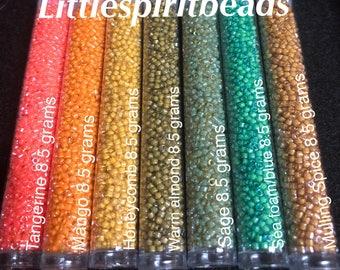 Delica beads luminous set by Miyuki size 11/0. 7 colors