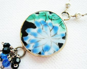 Ming Pottery Shard Necklace Pottery Shard Necklace Nature Jewelry Repurposed Broken China Jewelry Flower Jewelry Summer Gift Idea For Her