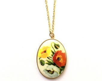 Vintage Poppy Cameo Necklace, Floral Jewelry, Cameo Necklace, Vintage Necklace