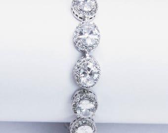 Cubic ZirconiaTennis Bracelet Bridal Bracelet  Cocktail Jewelry Best Gifts For Her
