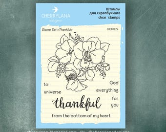 "Tnankful Set of Stamps 4x6"" Clear Photopolymer, Clear Stamps, Clear Rubber Stamps, Stamp Set, Flower Stamps, Cherrylana"