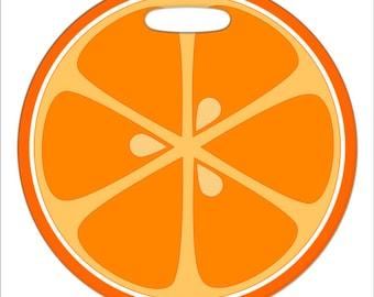 Luggage Tag - Orange Slice - 2.5 inch or 4 Inch Large Round Plastic Bag Tag