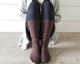 """Warm Wool Sweater Socks // Size 5-8 shoe, 17"""" Tall // Cabin Socks // Washable Felted Cashmere Wool // Thick felted wool sole // Brown"""