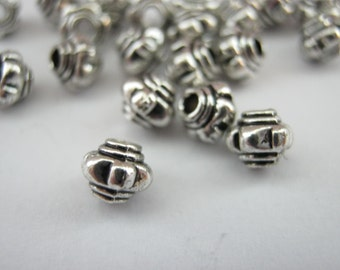 """50 Small Barrel Beads 5mm (1/8"""") Silver Metal Spacer beads, Lantern Jewelry Making Beads Jewellery Supplies Crafts"""