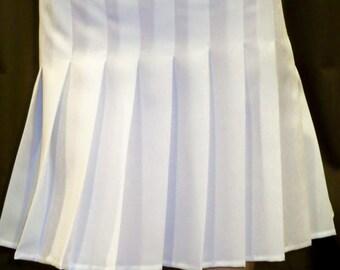 Solid White Sewn Down Pleated Skirt~Tennis White Pleated Skirt~cosplay White skirts Custom make White school girl skirt@sohoskirts
