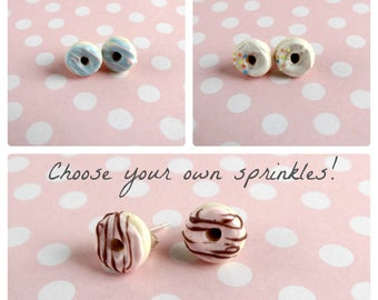 Miniature Donut Earrings Choose Your Icing Choose your Toppings Custom Donut Earrings Studs Nickel Free