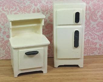 MINIATURE KITCHEN APPLIANCES, Painted Wood, 1:12 Scale, Vintage Dollhouse Furniture