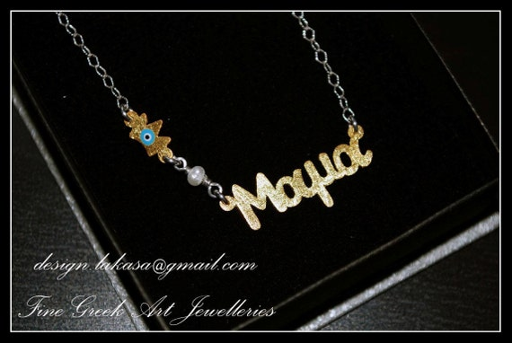 """Handmade Necklace Sterling Silver Gold plated Chain """"mama"""" Blue Enamel Crown Freshwater Pearl Fine Greek Art Jewelry Mother Day Newborn Baby"""
