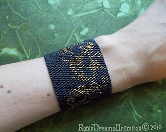 Metallic Ivy Peyote Stitch Bracelet