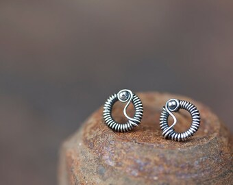 Unique stud earrings for man or woman, Tiny Wire Wrapped Silver Circle Earrings, Oxidized sterling silver studs, unisex silver earrings