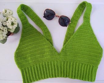 Top Crop crochet green