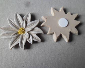x 3 sticker embellishments flower brown/beige resin 45 x 40 mm