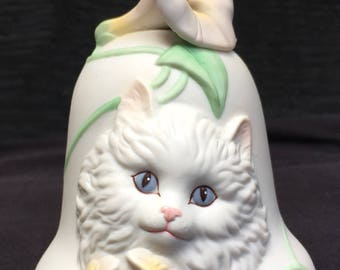 Bisque Bell with White, Blue-Eyed Cat and Morning Glory Flower